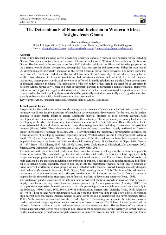 Research Journal of Finance and Accounting www.iiste.org ISSN 2222-1697 (Paper) ISSN 2222-2847 (Online) Vol.4, No.8, 2013 ...
