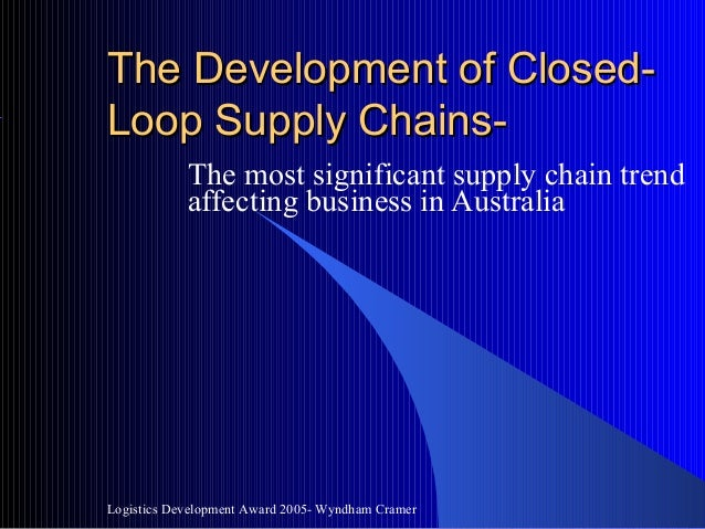 The Development Of Closed Loop Supply Chains