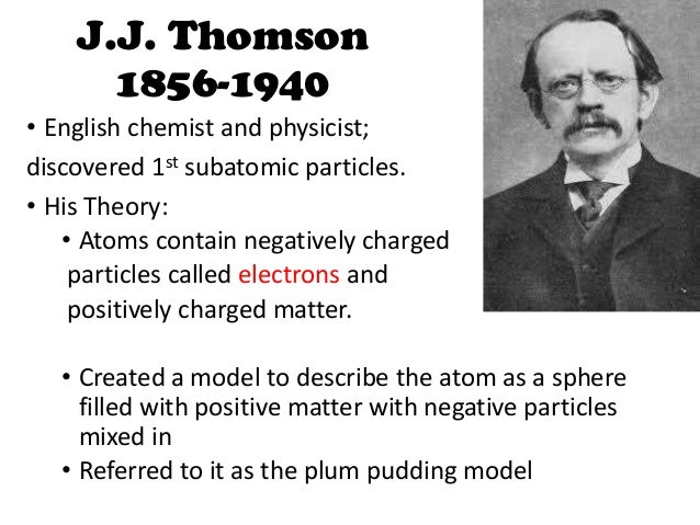 the contributions and works of j j thomson The raisin pudding model of the atom (j j thomson) thomson recognized one of the consequences of the discovery of the electron because matter is electrically neutral, there must be a positively charged particle that balances the negative charge on the electrons in an atom.
