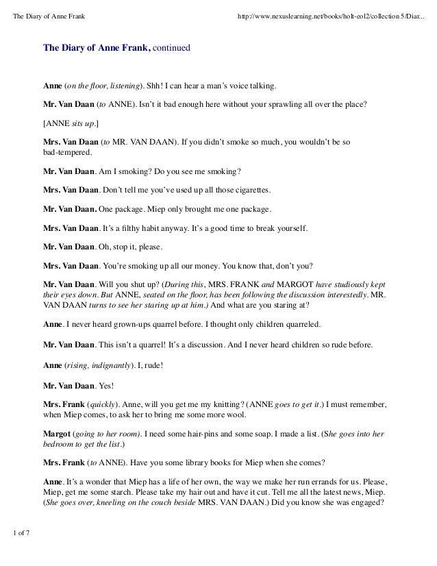 the diary of anne frank play essay questions Characters, vocabulary, literary terms, and general comprehension questions from the play anne frank: diary of a young girl.
