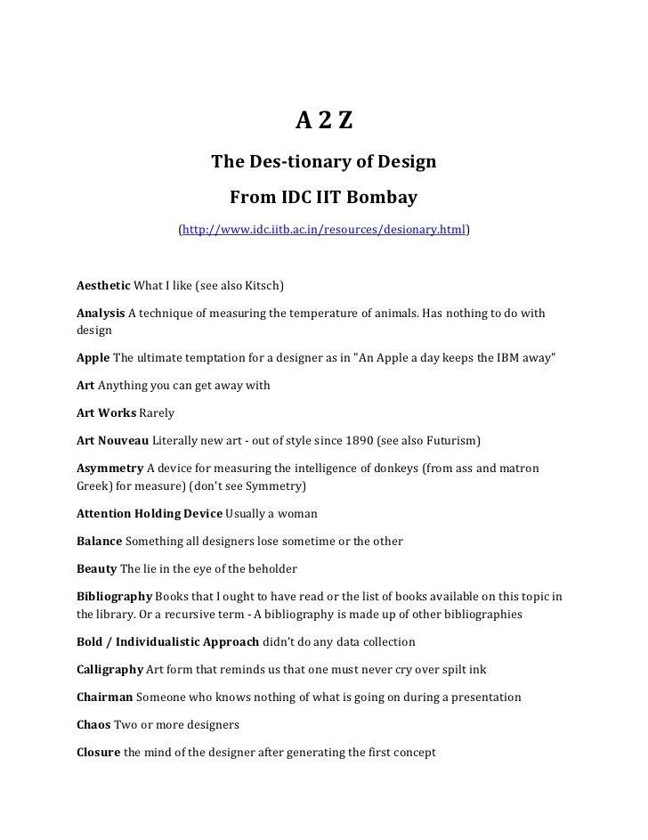 The Dictionary of design idc iit bombay