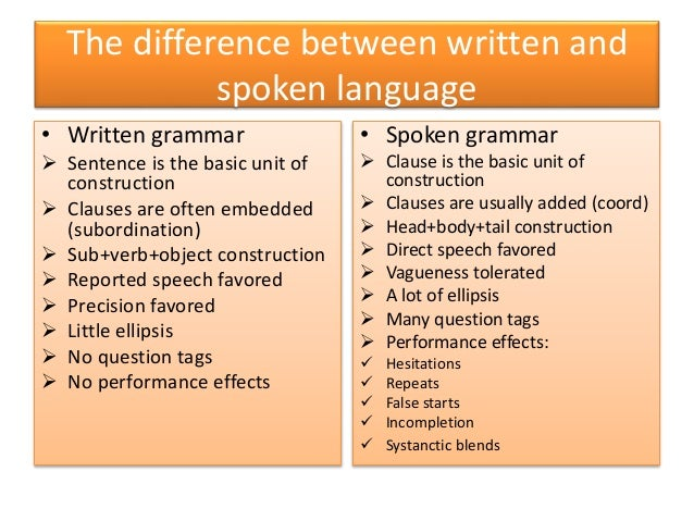 The difference between written and spoken language • Written grammar  Sentence is the basic unit of construction  Clause...
