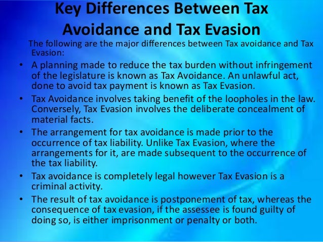 tax avoidance and the legal right of Tax avoidance is the use of legal methods to modify an individual's financial situation to lower the amount of income tax owed this practice differs from tax evasion, which uses illegal methods, such as underreporting income to avoid paying taxes.