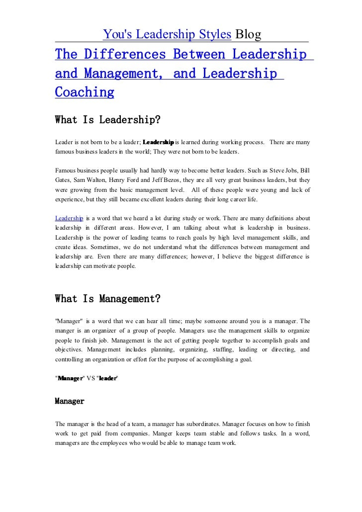 the difference between leadership and followership 1 chapter 1 leadership louis rubino learning objectives by the end of this chapter the student will be able to describe: the difference between leadership and management followership and why it's as important as leadership.
