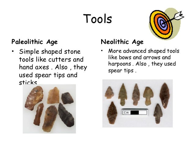 similarities of neolithic and paleolithic eras The differences between paleolithic and neolithic periods are: (a) paleolithic is the old stone age and neolithic the new stone age (b) paleolithic tools were heavy, crude and blunt whereas, neolithic tools were sharper, lighter, of better utility and of more variety and polished (c) paleolithic man was a nomad, hunter, and a food gatherer.