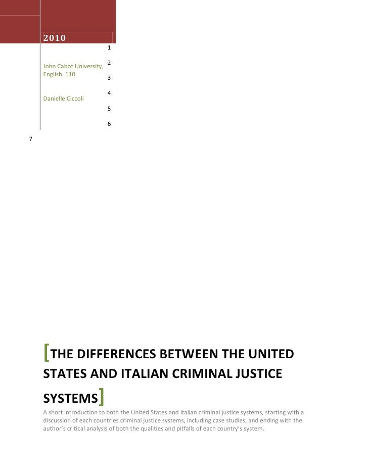 August 3rd 2010John Cabot University, English  110Danielle Ciccoli[The differences Between the United States and Italian C...
