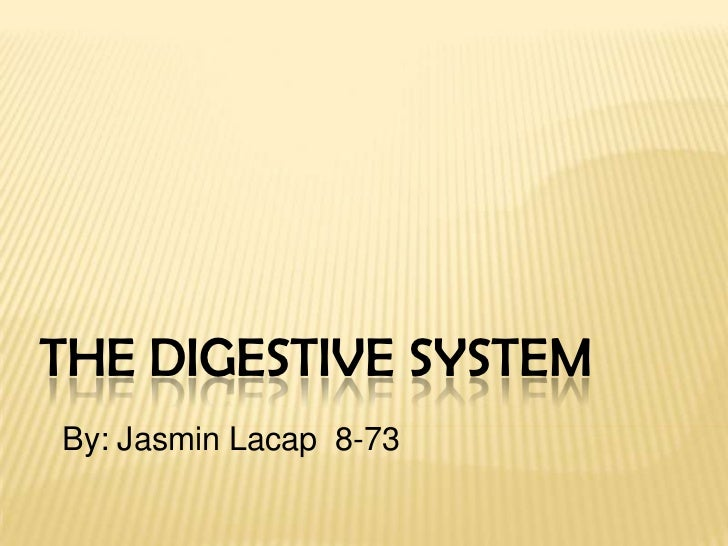 The Digestive System<br />By: Jasmin Lacap  8-73<br />