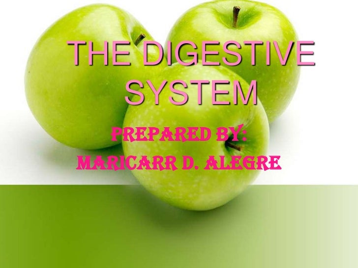 THE DIGESTIVE   SYSTEM  Prepared by:MARICARR D. ALEGRE