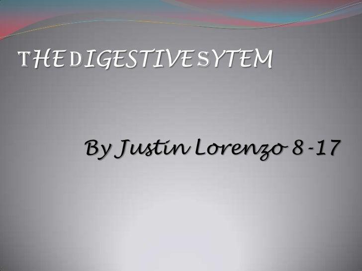 THE DIGESTIVE SYTEM<br />By Justin Lorenzo 8-17<br />