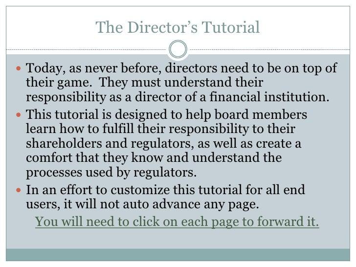 The Directors Tutorial