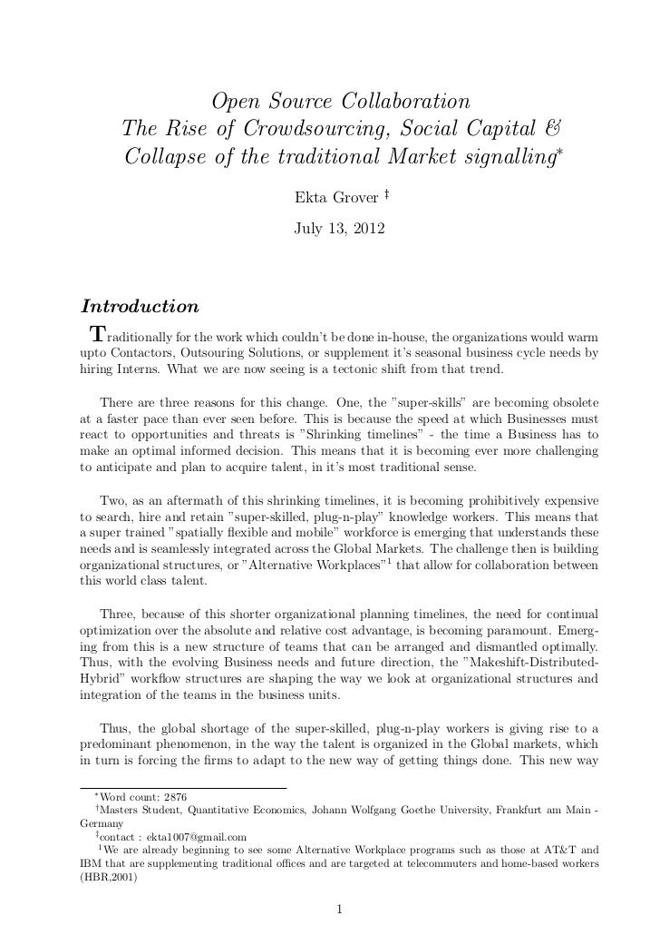 Open Source Collaboration       The Rise of Crowdsourcing, Social Capital &       Collapse of the traditional Market signa...