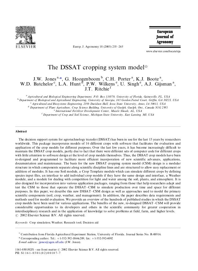 The dssat cropping system model