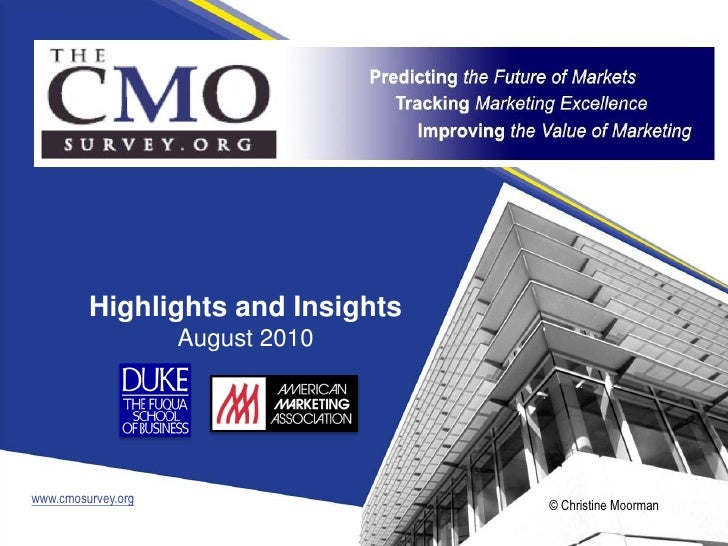 The Duke University CMO Survey Highlights And Insights, August 2010