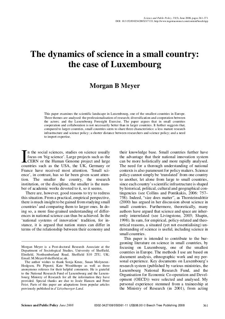 The dynamics of science in a small country luxembourg