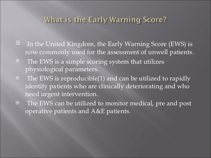 Early Warning Score Chart The Early Warning Score