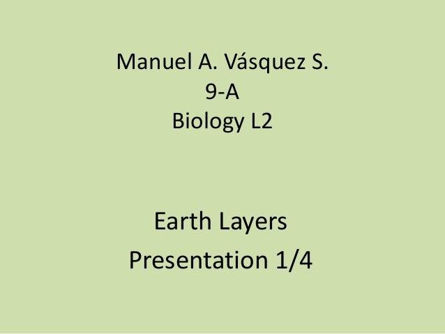 Manuel A. Vásquez S. 9-A Biology L2 Earth Layers Presentation 1/4