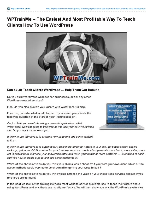 Teach Your Clients How To Use WordPress Easily With WPTrainMe