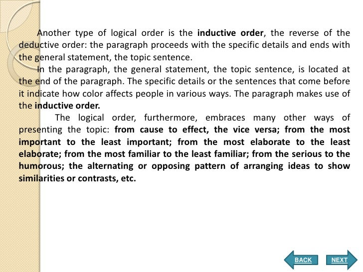 examples of inductive deductive paragraph structure
