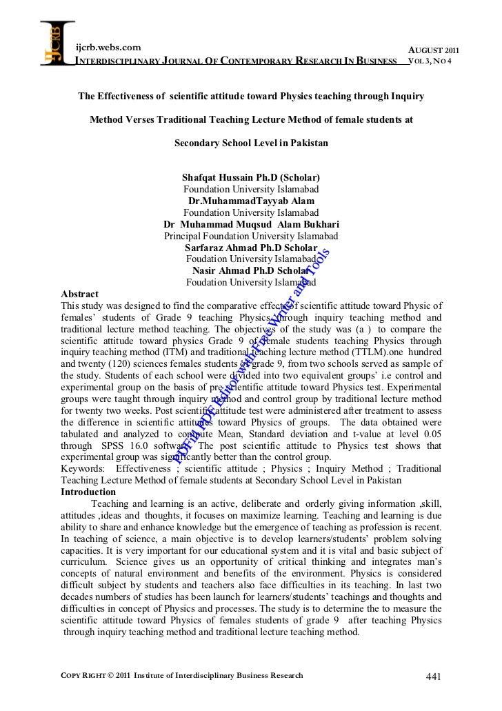 The effectiveness of scientific attitude toward physics teaching through inquiry