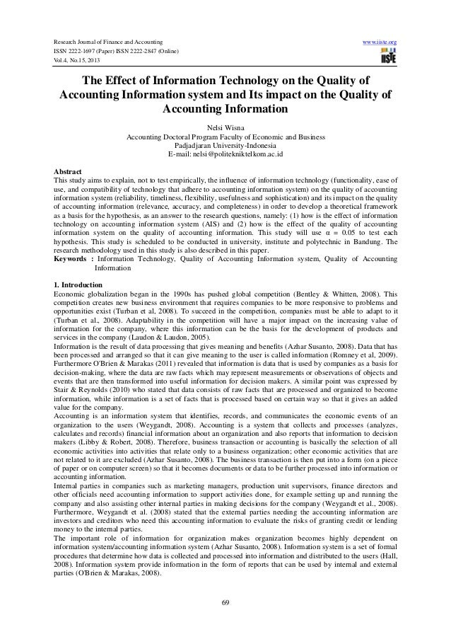 The effect of information technology on the quality of accounting information system and its impact on the quality of accounting information
