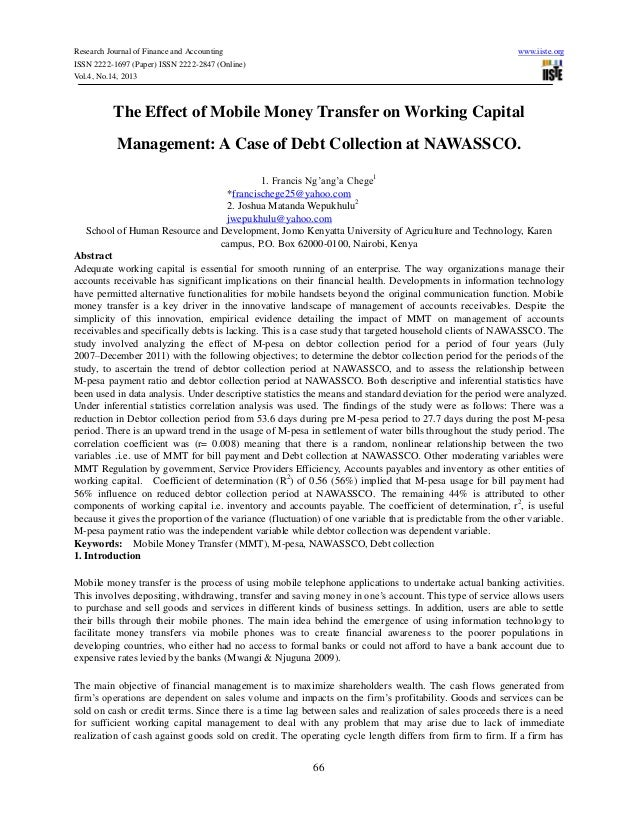 The effect of mobile money transfer on working capital management