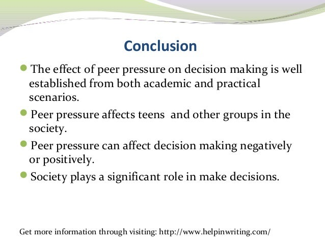 negative effects of peer pressure essay Peer pressure also has positive and negative effects on groups on the positive side, it creates shared standards of behavior to help group members interact it also strengthens group ties by giving members a common social identity however, peer pressure can harm the group by.