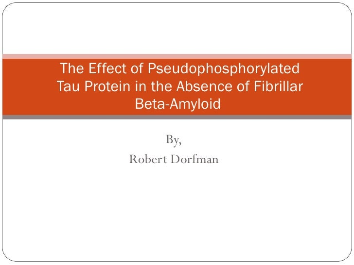 The Effect of Pseudophosphorylated Tau Protein in the Absence of Fibrillar Beta-Amyloid  By, Robert Dorfman