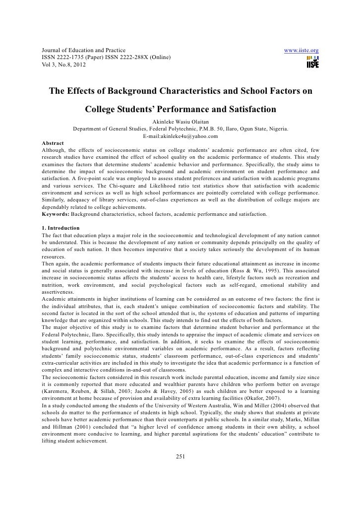 The effects of background characteristics and school factors on college students' performance and satisfaction
