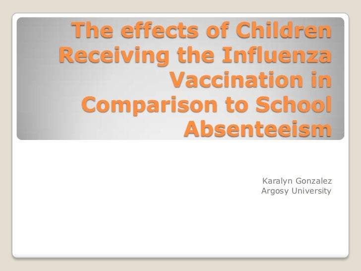 The effects of children receiving the influenza vaccination in comparison to school absenteeism  notes view