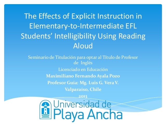 The Effects of Explicit Instruction in Elementary-to-Intermediate EFL Students' Intelligibility Using Reading Aloud Semina...
