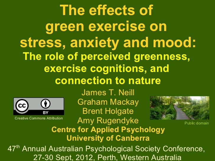 The effects of        green exercise on    stress, anxiety and mood:      The role of perceived greenness,          exerci...