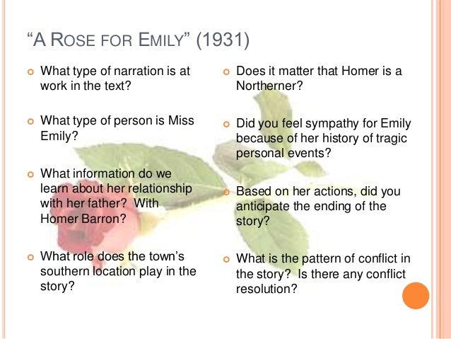 a rose for emily essay questions A rose for emily is a favorite american short story by william faulkner here is a summary of the story and a few questions for study and discussion.