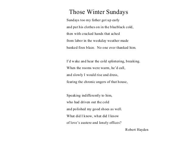 those winter sunday s warm and cold Full analysis of those winter sundays, a short, atmospheric poem in which a child looks back in time to cold winter sunday mornings and the dutiful acts of.