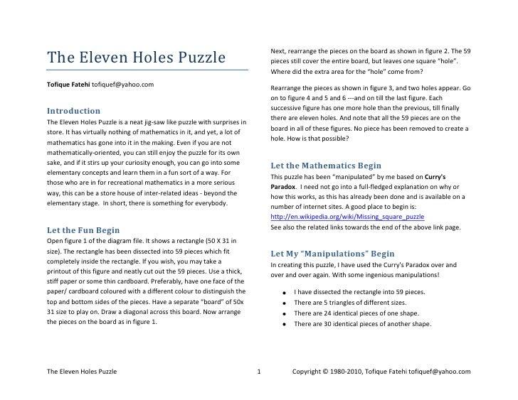 The Eleven Holes Puzzle