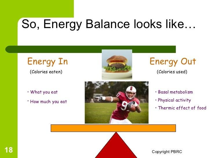 Energy Balance Seesaw so Energy Balance Looks Like…