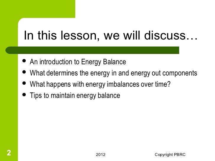 Energy Balance Seesaw to Energy Balance  What