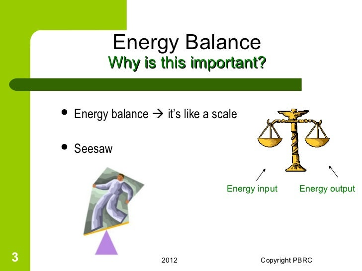 Energy Balance Seesaw Energy Balance Why is This