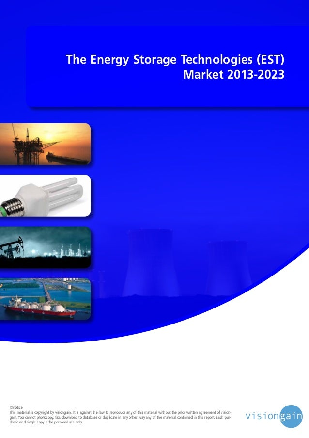 The energy storage technologies (est) market 2013 2023