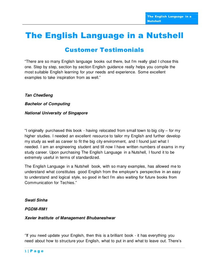 The English Language in a                                                                    NutshellThe English Language ...