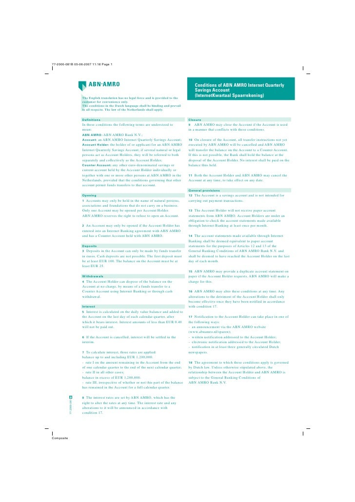 Conditions of ABN AMRO Internet Quarterly                                                                                 ...