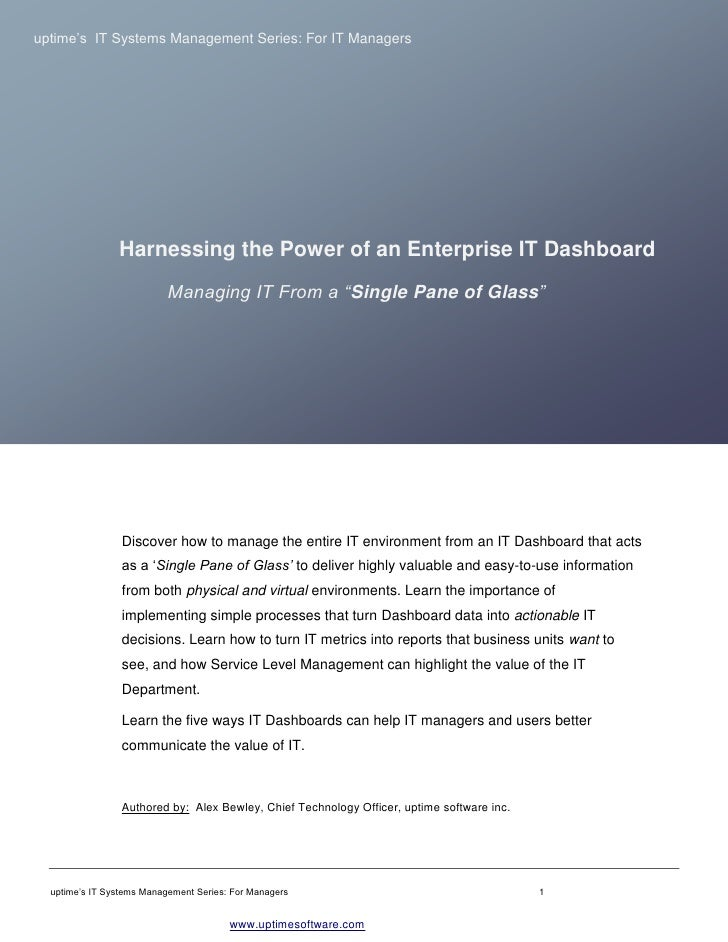 Harnessing the Power of an Enterprise IT Dashboard - uptime software