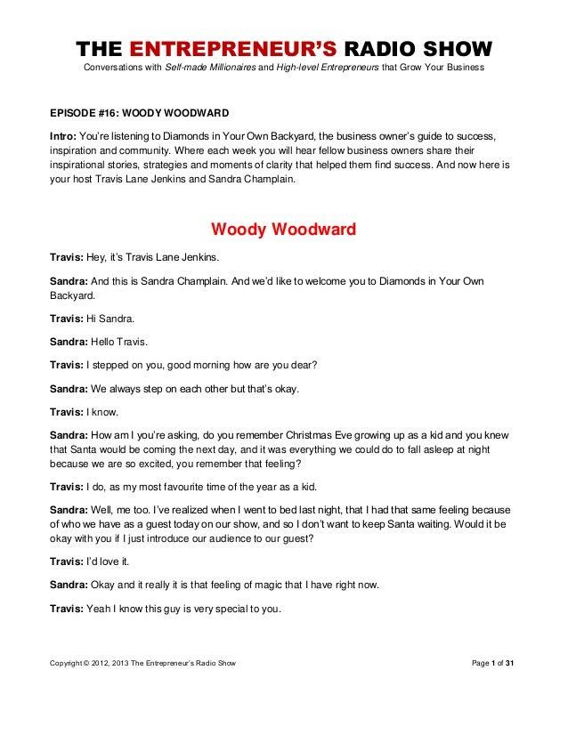The Entrepreneurs Radio Show 016 Woody Woodward