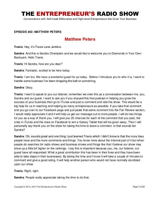 The Entrepreneurs Radio Show show_ 022_Matthew Peters