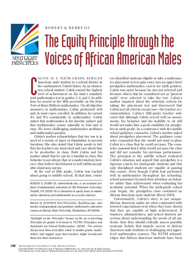 The equity principle through the voices of african american males
