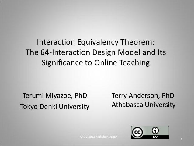 Interaction Equivalency Theorem: The 64-Interaction Design Model and Its      Significance to Online Teaching Terumi Miyaz...
