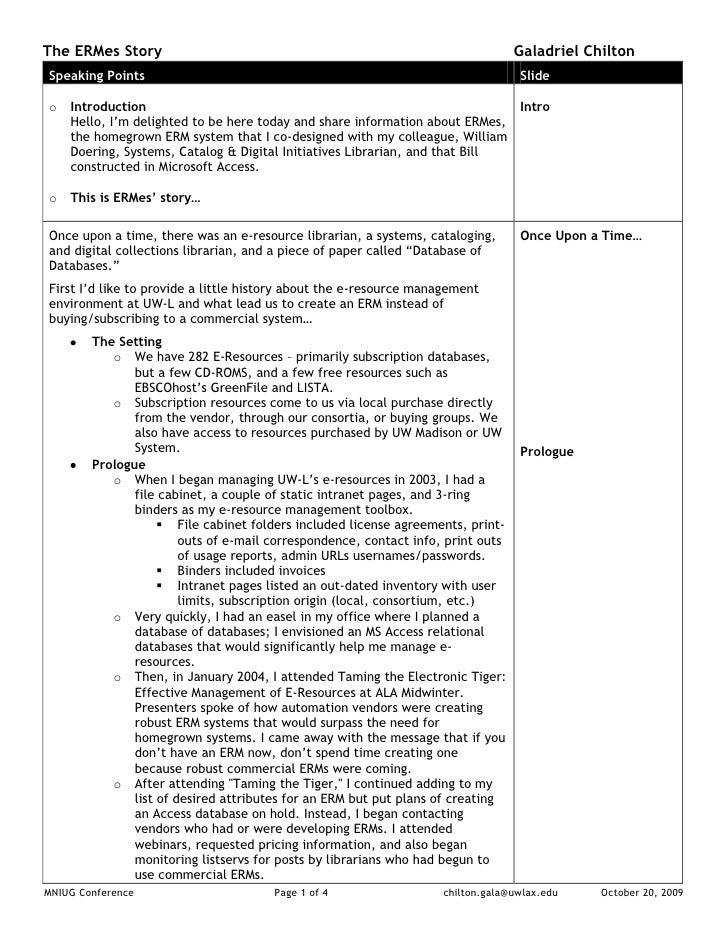 The ERMes Story - Speaker's Notes