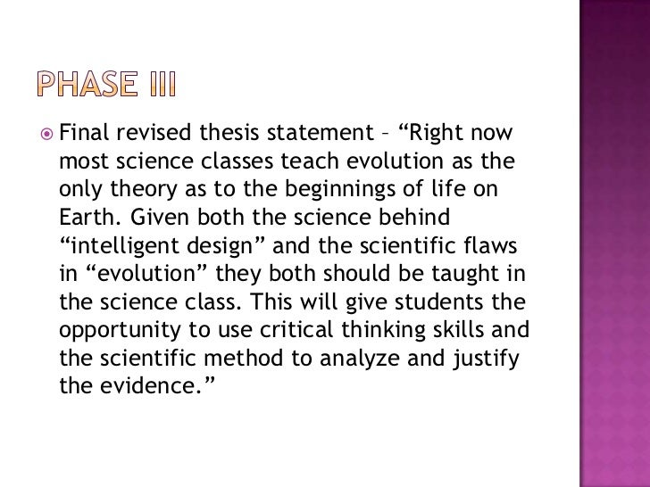 How to improve my thesis statement about Evolution and Creationism?