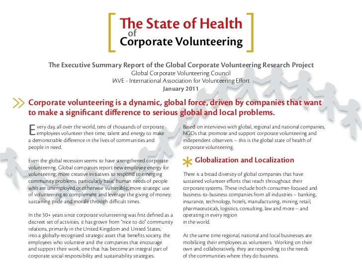 The executive summary report of the global corporate volunteering research project
