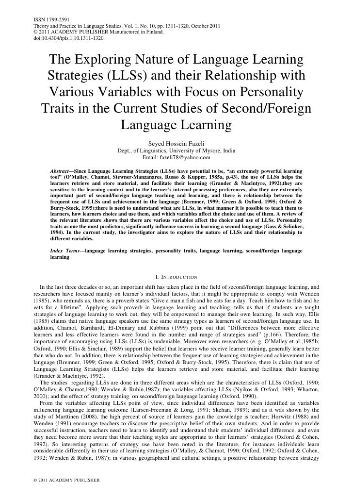 The exploring nature of language learning strategies (ll ss) and their relationship with various variables with focus on personality traits in the current studies of secondforeign language learning