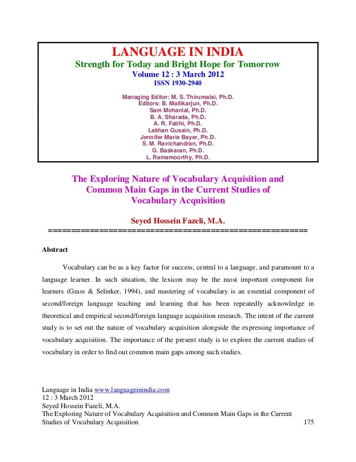The exploring nature of vocabulary acquisition and common main gaps in the current studies of vocabulary acquisition